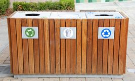 Elegant trash receptacle with compost trash recycle choices stock photos