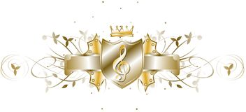 Elegant treble clef on shield isolated. Image representing an elegant treble clef, usable for t shirt design, decorations or music projects Royalty Free Stock Images
