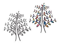 Elegant Tree Plant With Colorful Leaves Logo Design Stock Images