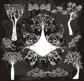 Elegant tree set vector illustration