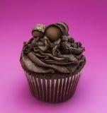 Elegant trefaldig chokladmuffin Arkivbild