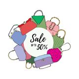 Vintage bags, clutches and purses round banner. Hand drawn vector illustration. Elegant and trendy. Sale up to 50 royalty free illustration