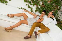 Elegant trendy young couple Stock Photography