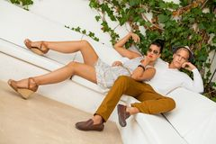 Elegant trendy young couple Royalty Free Stock Images