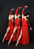 Elegant trio in evening gowns Royalty Free Stock Photo