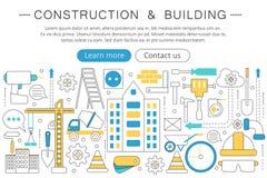 Elegant tunn linje för moderna begrepp byggnads- för vektor och konstruktionshjälpmedel för lägenhet Orientering för beståndsdela stock illustrationer