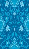 Elegant turquoise pattern. Blue pattern with damask. Turquoise filigree ornament. Elegant template for wallpaper, textile, shawl, carpet Stock Illustration