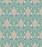 Elegant turquoise pattern. Pattern with damask. Turquoise and pink filigree ornament. Elegant template for wallpaper, textile, carpet Royalty Free Stock Photo