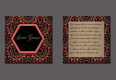 Elegant two sides of brochure. S. Nice hand-drawn illustration Royalty Free Stock Image