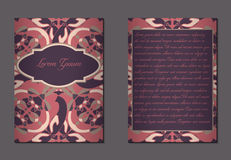 Elegant two sides of brochure. S. Nice hand-drawn illustration Royalty Free Stock Photos