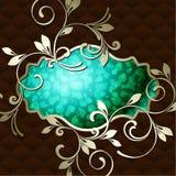 Elegant uitstekend rococo etiket in donkergroen Stock Fotografie