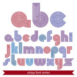 Elegant unusual striped typescript, colorful lined round letters Royalty Free Stock Images