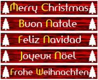 Elegant uppsättning av julhälsningkortet i rött Royaltyfri Foto