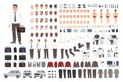 Elegant uppsättning för skapelse för kontorsarbetare eller kontoristeller DIY-sats Samling av kroppsdelar, stilfull affärskläder, vektor illustrationer