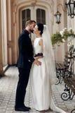 Elegant ursnygg brud och stilfull brudgum som kramar att kyssa, sensua royaltyfria foton