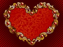 Elegant valentine background with rubies. Elegant valentine's day background with gold filigree and embedded jewels. Graphics are grouped and in several layers stock illustration