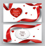 Elegant valentine`s day banners with silk red ribbons and sparkling red hearts Stock Photos
