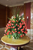 Elegant vase with flowers. In a lobby of dear hotel Royalty Free Stock Images