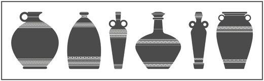 Elegant vases silhouettes on white background Stock Image