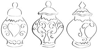 Elegant vases stylized Royalty Free Stock Image