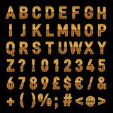 Elegant Gold Vector Alphabet Letters And Numbers Download vector illustration