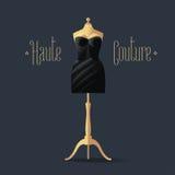 Elegant vector black dress for dinner, cocktail Royalty Free Stock Photo