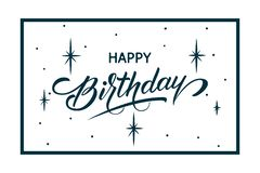 Elegant vector Happy Birthday card. Vector congratulation card with starry background, frame and beautiful typography royalty free illustration