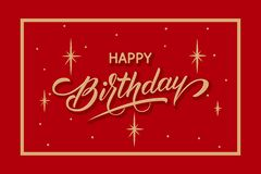 Elegant vector Happy Birthday card. Vector congratulation card with starry background, frame and beautiful typography royalty free stock photography