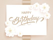 Elegant vector Happy Birthday card. Vector invitation card with background and frame with flower elements and beautiful royalty free stock photos
