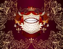 Elegant vector invitation card in royal style with heraldic elem Royalty Free Stock Image