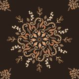 Elegant vector ornament. circular floral pattern brown. Abstract traditional pattern with oriental elements. Elegant vector ornament. circular floral pattern royalty free illustration