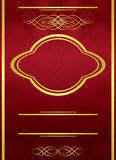 Elegant vector red card with golden frame. Vertical elegant red card with golden frame Royalty Free Stock Images