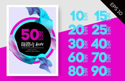 Elegant Vector Sale Template with Flying Silk on Lilac Background and Circles. Advertising Layout For Cloth Shop, Online Store, Web Banner, Pop-Up, Poster Stock Photography