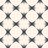Geometric ornamental seamless pattern with stars, crosses. Elegant vector seamless pattern. Black and white geometric ornament with stars, crosses, repeat tiles Royalty Free Stock Image