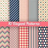 Elegant vector seamless patterns. 10 Elegant vector seamless patterns. Retro blue, pink, red and white colors. Endless texture can be used for printing onto Royalty Free Stock Photo
