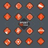 Elegant vector sport 16 icon set and badges. Elegant vector sport 16 vibrsnt orange icon set and badges in rhomb with dark border vector illustration
