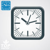 Elegant vector square wall clock with stylized clockwise, additi Stock Photography