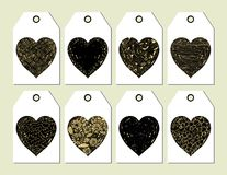 Elegant vector tags with hearts. For gifts and presents for Valentine`s day Royalty Free Stock Photography