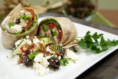 Elegant vegetable wraps with salad Royalty Free Stock Images