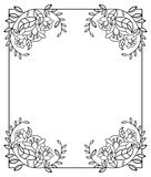 Elegant vertical frame with contours of flowers. Raster clip art. Elegant vertical frame with contours of flowers. Copy space. Raster clip art Stock Photos
