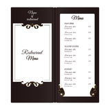 Elegant vertical restaurant menu. With leafy elements of Victorian style. Colors are brown with white. Stock Photos