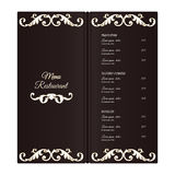 Elegant vertical restaurant menu template. It is executed in the Victorian style with a leaf ornament. Brown with white color. Royalty Free Stock Photography