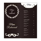 Elegant vertical restaurant menu template. It is executed in the Victorian style with a leaf ornament. Brown with white color. Royalty Free Stock Image