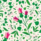 Elegant vibrant floral pattern in hues of pink and green on a soft textured background. Seamless sophisticated vector. Design Perfect for stationery, textiles vector illustration