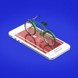 Elegant vintage bicycle on touchscreen of smartphone with road, digital fitness sports  bike rental app metaphor. render isolated Royalty Free Stock Photo