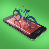Elegant vintage bicycle on touchscreen of smartphone with road, digital fitness sports  bike rental app metaphor. render isolated Royalty Free Stock Images