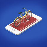 Elegant vintage bicycle on touchscreen of smartphone with road, digital fitness sports  bike rental app metaphor. render isolated Stock Photos