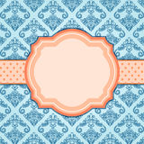 Elegant Vintage Blue Card with Orange Label in Center. Stock Photography