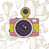Elegant vintage camera on floral background. Vector illustration royalty free illustration