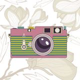 Elegant vintage camera on floral background. Vector illustration stock illustration